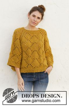 Summer shells / DROPS - free knitting patterns by DROPS design Knitting is often Drops Design, Summer Knitting, Free Knitting, Sweater Knitting Patterns, Knit Patterns, Laine Drops, Handgestrickte Pullover, Summer Sweaters, 9 Mm