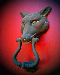 hoping little red comes knocking Antique Door Knockers, Door Knobs And Knockers, Knobs And Handles, Door Handles, Door Detail, Unique Doors, Door Furniture, Windows And Doors, Front Doors