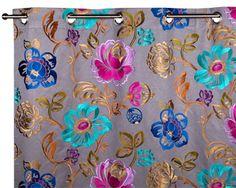 Rideau à oeillets Gris à coloris multiples Haute couture MAGELLAN 135 x 300 cm -