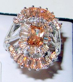 Vintage Peach Morganite Ring  Size 8  925 Sterling by JanEleven