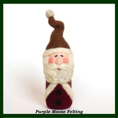 Needle Felted Santa by Caryn Burwood of Purple Moose Felting www.purplemoosefelting.etsy.com