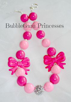 Chunky BubbleGum bead toddler necklace Hot pink BOWS adorable Jewelry girl on Etsy, $18.00