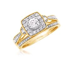 Unique Halo Round Diamond and Solitaire Bridal Set in Yellow Gold - OUR PRICE: $679.99 - http://www.mybridalring.com/Rings/haloed-round-solitaire-bridal-set-in-14k-white-yellow-gold/