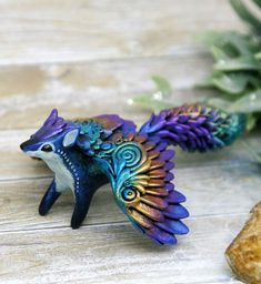 Fox Figurine Animal Sculpture by Evgeny Hontor, Totem polymer clay figures for Home decor, polymer clay animal for collecting. Painted and unpainted Animal Sculpture gifts for dragon lovers. Look at the best collection of 800+ miniatures of fantasy creatures, beasts and aliens #Fox
