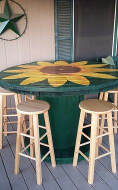 This is a spool I was lucky enough to see someone discarding. It is very large and very, very heavy. It took using our tractor to move it. This is the finished paint job but I plan on adding a self leveling epoxy to the table top & embellishments like some rope around the edge of the table. These stools are extras I had sitting around but I plan on painting them and making cushions for the top. More pics to come later.