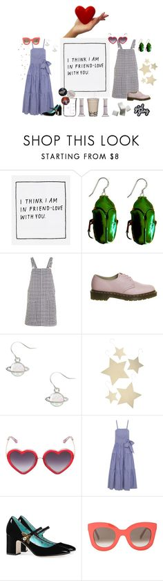 """""""my friend is too good to me"""" by jaloolia ❤ liked on Polyvore featuring Yumi, Coccinelle, Topshop, Dr. Martens, Bethany Lowe, Markus Lupfer, J.Crew, Gucci and CÉLINE"""