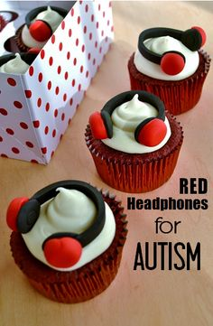 Red Velvet, Red Headphone Cupcakes by Cakewalker. Recipe & story about how these headphones became a symbol for #autism acceptance.