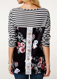 Long Sleeve Flower Print Black T Shirt Tshirt Dress Pattern, Capri Outfits, Women's Fashion Dresses, Diy Clothes, Shirt Blouses, Blouse Designs, Nice Dresses, Blazers, Creations