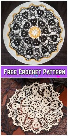 Crochet Skull Doily Free Crochet Patterns - Before After DIY Free Crochet Doily Patterns, Halloween Crochet Patterns, Crochet Motif, Tatting Patterns, Crochet Fall, Holiday Crochet, Filet Crochet, Thread Crochet, Crochet Crafts