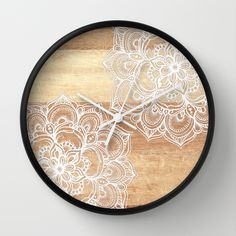 White Doodles On Blonde Wood - Neutral / Nude Colors Wall Clock By Micklyn