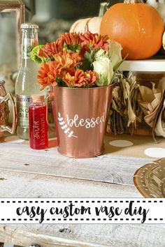 Make these custom bucket vases for your Thanksgiving dinner table in minutes with the DIY from Everyday Party Magazine. @MarthaStewart @MichaelsStores @Cricut #Thanksgiving #Buckets #DIY #MichaelsMakers #MarthaStewart