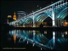 blue bridge downtown cleveland | Gallery > Walter Tatulinski > Photos > Nightime in the City > Saturday ...