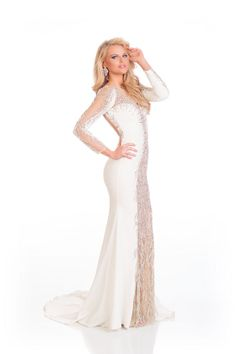 Grace Levy Miss Great Britain in evening dress for Miss Universe.