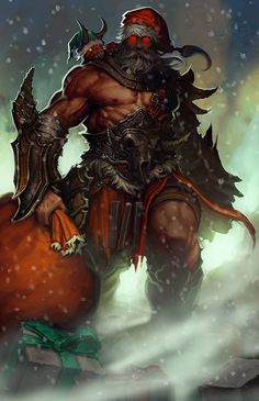 Papai noel mortífero do Wayne Reynolds Dark Christmas, Christmas Art, Xmas, Viking Christmas, Christmas Sayings, Fantasy Warrior, Dark Fantasy Art, Fantasy Rpg, Barbarian