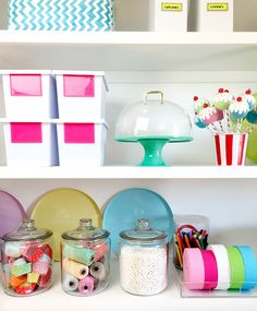 Being organized never felt … or looked so good with these fun storage solutions. Use glass jars to place colorful items on display and decorative bins to hide other items away. (a collaboration with Target)