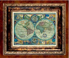 World Map Print  1626 World Map on Parchment Paper by newdayprints, $7.99