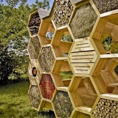 AtelierD's Giant Honeycomb Bee Hotel Attracts Pollinators & Humans Alike K-Abeilles Hotel for Bees-AtelierD – Inhabitat - Sustainable Design Innovation, Eco Architecture, Green Building Wild Bees, Bug Hotel, Mason Bees, Bee Photo, Bee House, Bee Farm, Eco Architecture, Rain Garden, Nature Center