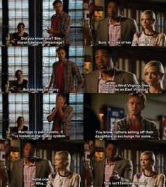"""No, somehow in 4 years of knowing this woman, this particular quirk has never been covered"""" -Wade Hart Of Dixie Wade, Zoe And Wade, Movie Songs, Movie Tv, Whats On Tv Tonight, Wade Kinsella, Wilson Bethel, Alabama, Red Band Society"""