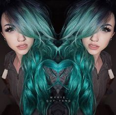 Minty! Loving ✨@Mykie_✨'s minty teal green hair and rocking Flutter® Lashes in #PAIGE