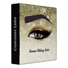 Brown glam lashes eyes   makeup artist 3 ring binder - home gifts ideas decor special unique custom individual customized individualized