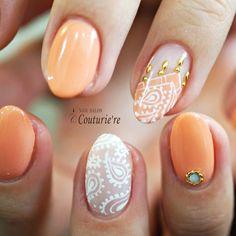 couturie re ? Cute Nails, Pretty Nails, Nails Only, Girls Nails, Orange Nails, Beautiful Nail Designs, Flower Nails, Creative Nails, Nail Stamping