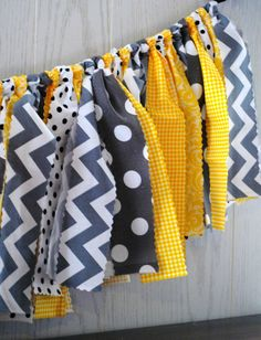 Mystery Party Yellow & Gray Fabric Tie Garland