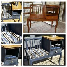 Broc and furniture make-up cloths in both sèvres Old-fashioned patina: Patine Bleu petrol on banquette Telephone Source by jdchevrier Telephone Booth, Banquette, Home Staging, Apartment Living, Furniture Making, Architecture Design, Chiffons, Cabinet, Storage