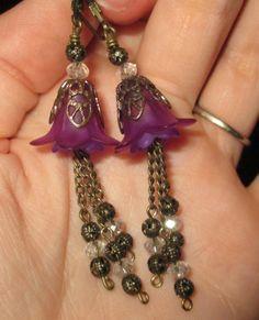 Vintaj Purple Dangling Lily Flower Earrings by Sarahberra on Etsy, $12.00