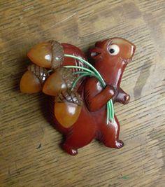 Carved Bakelite Greedy Squirel Harvesting Acorn Nuts Pin Catalin Brad Elfrink #ElvenkrafteStudio