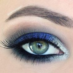 Take a look at this flawlessly executed royal blue and silver eye. Recreate the fabulous makeup for an extra special night out and stand out from the crowd.