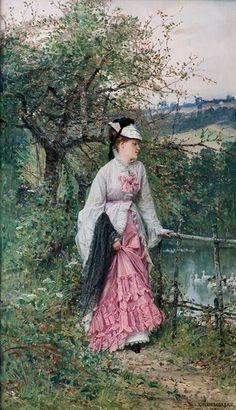 Contemplation by ADRIEN MOREAU  (Troyes,França, 18 de abril de 1843 – Paris, França, 22 de fevereiro de 1906)