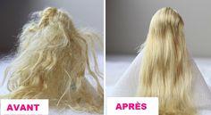 Unravel the doll hair in no time! - Sandra da Cunha - - Démêler les cheveux de poupée en un rien de temps! Unravel the doll hair in no time! - Tips and tricks - Tips and tricks to improve your everyday life - Tips and tricks - Think about it! Doll Hair Repair, Fix Doll Hair, Baby Doll Hair, Barbie Hair Fix, Tangled Doll, Tangled Hair, Doll Hair Detangler, Doll Hair Conditioner, Girl Dolls