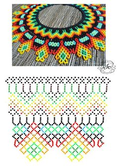 Beading ___ FREE Vibrantly Colored Netted Necklace Pattern ___ Artist = Natali Khovalko Diy Necklace Patterns, Bead Loom Patterns, Beaded Jewelry Patterns, Beading Patterns, Native Beadwork, Beaded Crafts, Bead Jewellery, Handmade Beads, Bead Crochet