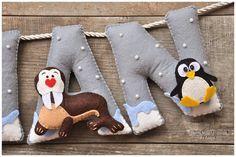 Felt name banner North Pole nursery decor by DreamCreates on Etsy