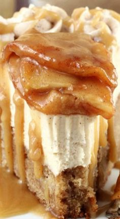 Caramel Apple Blondie Cheesecake. It's an apple spice blondie filled with apples, topped with a no bake caramel cheesecake, topped with cinnamon apples and even more caramel sauce.