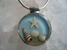 Real Seashell Necklace, Handmade Silver plated Round Resin Pendant --- Beach Summer Blue Waves Starfish Ocean Marine Nautical Jewelry Gift on Etsy, $45.00