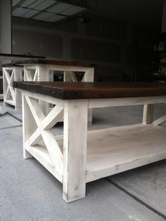 Rustic X coffee table | Do It Yourself Home Projects from Ana White. You could make it nicely finished as well with brass accents.