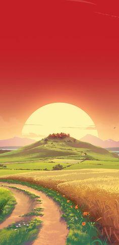 Fantasy dream Landscape pathway hill and sun sunset art wallpaper Anime Scenery Wallpaper, Landscape Wallpaper, Landscape Art, Wallpaper Backgrounds, Mobile Wallpaper, Wallpaper Art, Artistic Wallpaper, Sunrise Landscape, Sunset Wallpaper