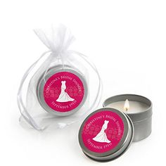 Wedding Dress Pink - Personalized Bridal Shower Candle Tin Favors | BigDotOfHappiness.com