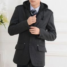 Men's Single Breasted Jacket with Hood