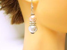 Pink Silver Pearl Earrings Wedding Wear Classic Pink Silver Earrings Clear Rhinestone Rondelle Gift Ideas For Her . Pearl Earrings Wedding, Bridesmaid Earrings, Pearl Drop Earrings, Bridal Earrings, Wedding Jewelry, Silver Earrings, Earring Studs, Stud Earrings, Silver Jewelry
