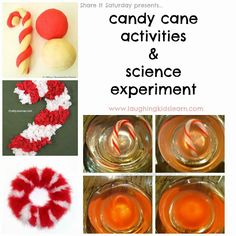 Share It Saturday - Candy Cane activities and science experiment - Laughing Kids Learn Preschool Christmas Crafts, Christmas Math, Kindergarten Crafts, Preschool Science, Christmas Activities, Science For Kids, Craft Activities, Xmas Crafts, Simple Christmas