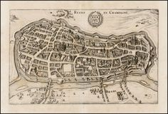 Interesting Maps - map inspiration! — Reims - Champagne by Matthaus Merian 1638 #map...