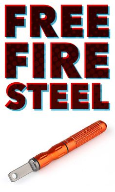 Claim your FREE Fire Steel Today! This waterproof and compact survival fire steel is our free gift to you! Outdoor Survival Gear, Survival Food, Survival Kit, Survival Weapons, Fire Torch, Edc Keychain, Get Home Bag, 72 Hour Kits, Bug Out Vehicle