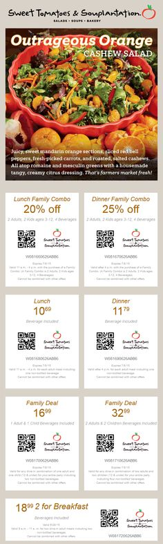 Pinned July 7th: 20% off lunch 25% off dinner & more at Souplantation & #Sweet Tomatoes #coupon via The #Coupons App