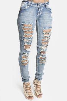 Light Denim Ripped Skinny Jeans | Skinny jeans, Ripped skinny ...