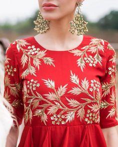 Summer kind of wonderful! Prathyusha Garimella. #Fiery #red #prathushyagarimella #Gold #fashion #designer #kurta #perniaspopupshop