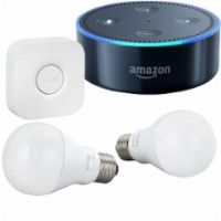 Philips - Philips Hue Starter Kit and Amazon Echo Dot (Black) Package - Larger Front