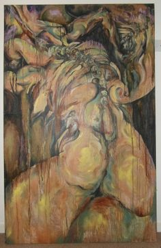 This is titled 'Anxiety', oil on canvas 8ft x 5ft. An abstract figurative piece, part of a series exploring figuartive themes of disintegration - physical, psychological, emotional and mental disintegration reflected in the disintegrating quality of the paint. Issues of aging and self-image...and yes, I was full of anxiety when I painted it!