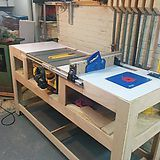 26 Ideas Diy Table Saw Station Workbenches Table Saw Workbench, Workbench Plans Diy, Router Table, Woodworking Workbench, Woodworking Shop, Woodworking Projects, Garage Workbench, Woodworking Machinery, Table Saw Stand